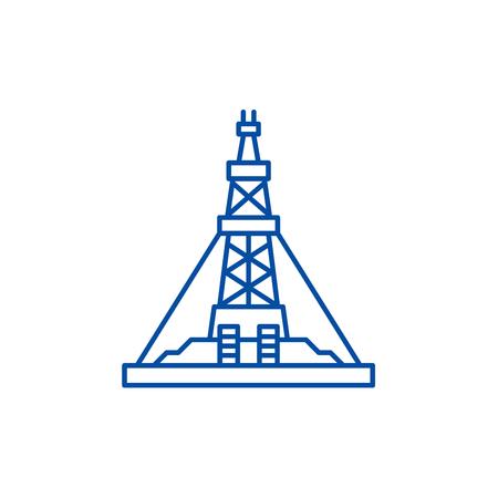 Oil production platform line concept icon. Oil production platform flat  vector website sign, outline symbol, illustration. Stock Illustratie