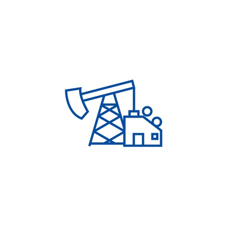 Oil pump jack line concept icon. Oil pump jack flat  vector website sign, outline symbol, illustration. Stock Vector - 119984969