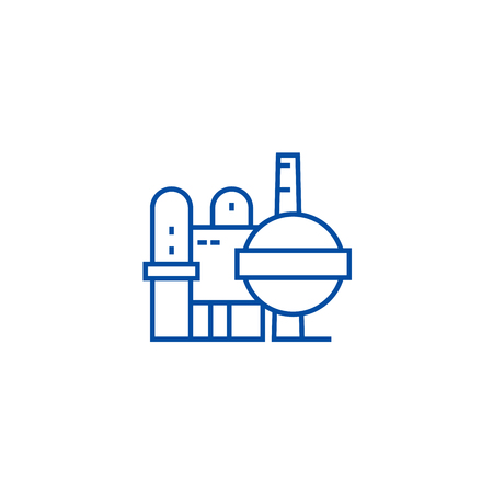 Oil refinery line concept icon. Oil refinery flat  vector website sign, outline symbol, illustration.