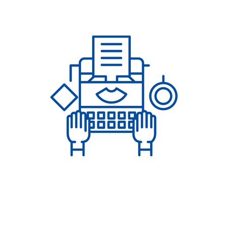 Online copywriting line concept icon. Online copywriting flat  vector website sign, outline symbol, illustration. Illustration