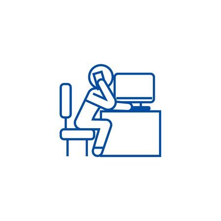 Office employee calling in office line concept icon. Office employee calling in office flat  vector website sign, outline symbol, illustration.