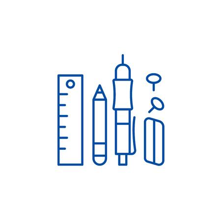 Office supplies line concept icon. Office supplies flat  vector website sign, outline symbol, illustration. Иллюстрация
