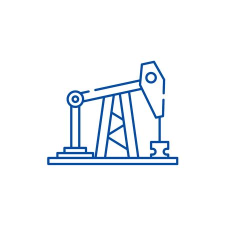 Oil rig line concept icon. Oil rig flat  vector website sign, outline symbol, illustration. Ilustração