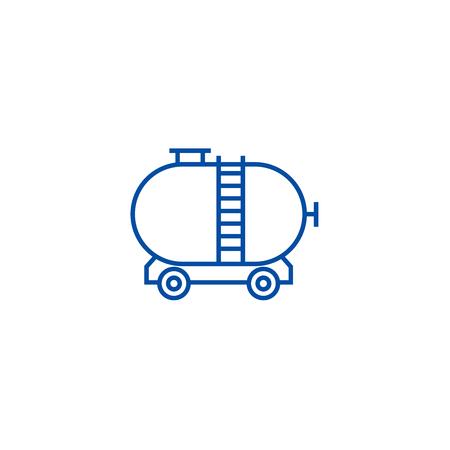 Oil tank line concept icon. Oil tank flat  vector website sign, outline symbol, illustration. Stock Vector - 119985110
