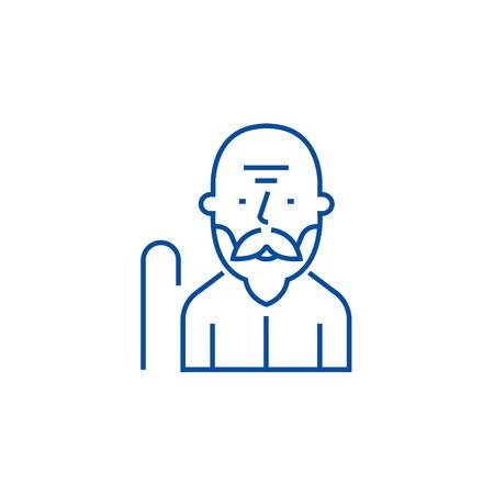 Old man line concept icon. Old man flat  vector website sign, outline symbol, illustration.