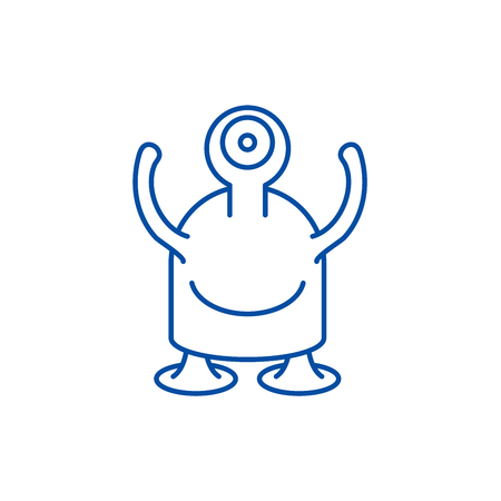 One eyed monster line concept icon. One eyed monster flat  vector website sign, outline symbol, illustration.