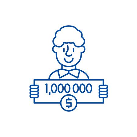 One million dollars line concept icon. One million dollars flat  vector website sign, outline symbol, illustration.