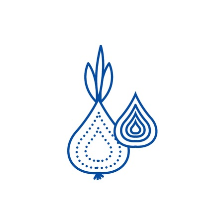 Onion line concept icon. Onion flat  vector website sign, outline symbol, illustration.
