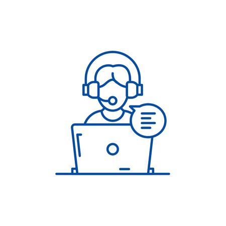 Icona del concetto di linea di consulenza online. Consulenza online sito web piatto vettore segno, simbolo di contorno, illustrazione.