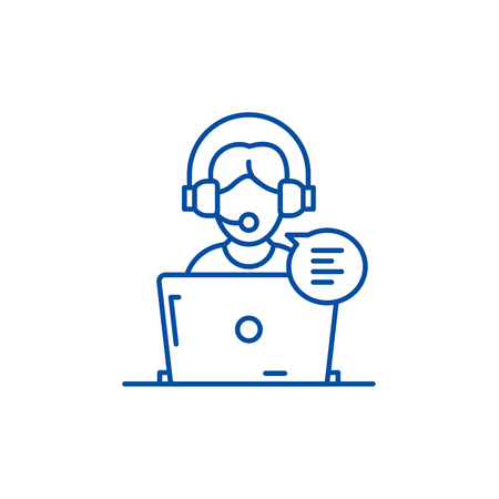 Online counseling line concept icon. Online counseling flat  vector website sign, outline symbol, illustration.  イラスト・ベクター素材
