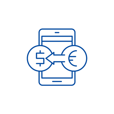 Online currency exchange line concept icon. Online currency exchange flat  vector website sign, outline symbol, illustration.