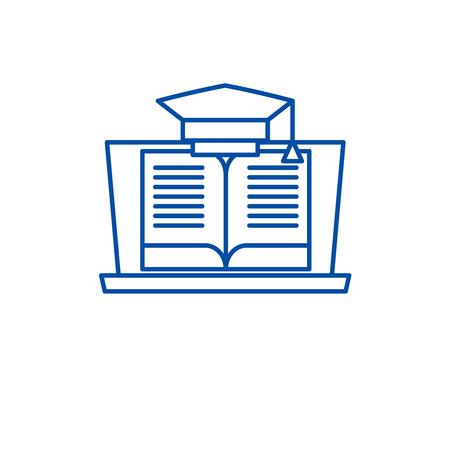 Online education line concept icon. Online education flat  vector website sign, outline symbol, illustration.