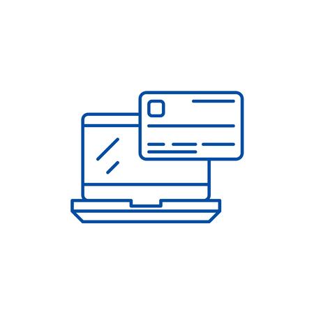 Online payment line concept icon. Online payment flat  vector website sign, outline symbol, illustration.