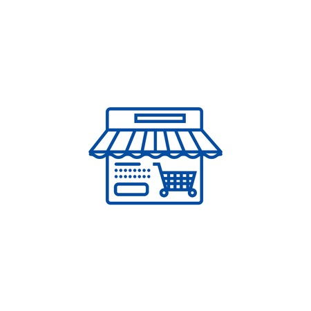 Online shop line concept icon. Online shop flat  vector website sign, outline symbol, illustration.