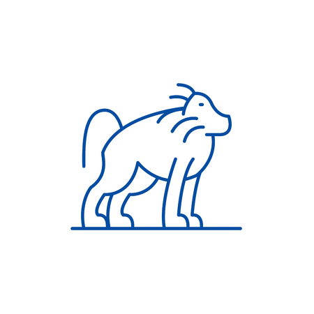 Orangutan line concept icon. Orangutan flat  vector website sign, outline symbol, illustration.