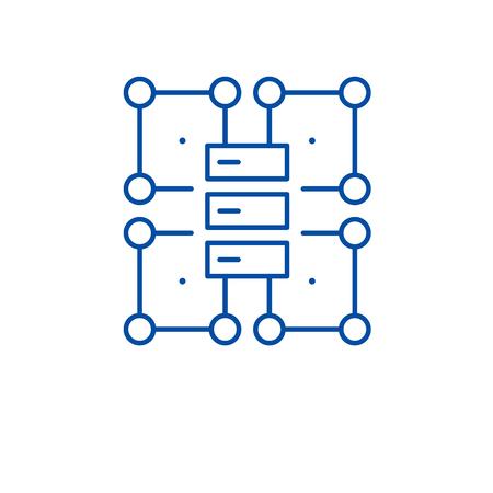 Organization structure line concept icon. Organization structure flat  vector website sign, outline symbol, illustration.