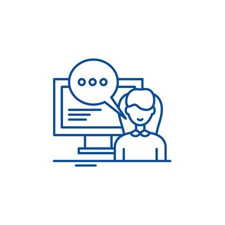 Online trainer line concept icon. Online trainer flat  vector website sign, outline symbol, illustration.