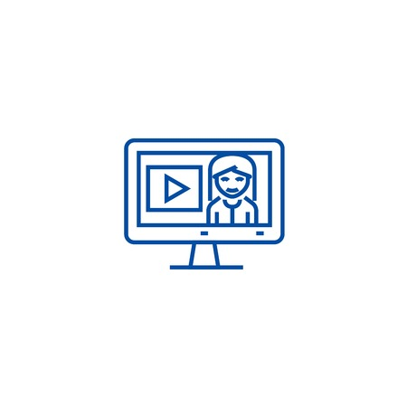 Online tutorials,education in monitor line concept icon. Online tutorials,education in monitor flat  vector website sign, outline symbol, illustration. Banque d'images - 120117473