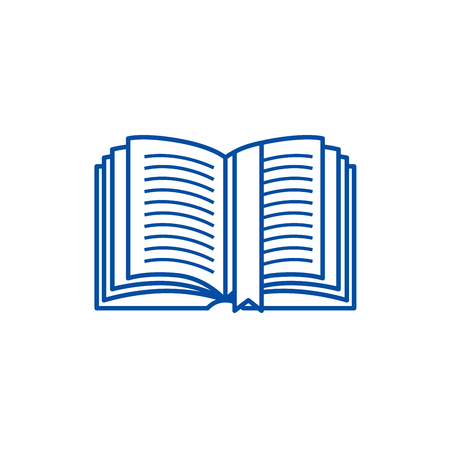Open book with tag line concept icon. Open book with tag flat  vector website sign, outline symbol, illustration. 스톡 콘텐츠 - 120071208