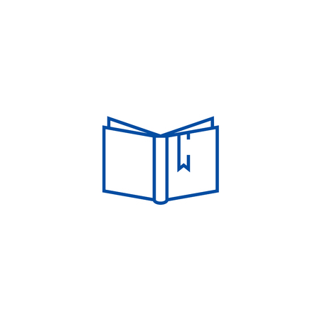 Open book with tag sign line concept icon. Open book with tag sign flat  vector website sign, outline symbol, illustration. 스톡 콘텐츠 - 120057039