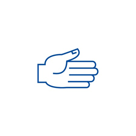 Open hand  line concept icon. Open hand  flat  vector website sign, outline symbol, illustration.