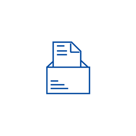 Opened email with letter line concept icon. Opened email with letter flat  vector website sign, outline symbol, illustration.