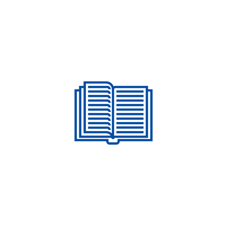 Opened textbook line concept icon. Opened textbook flat  vector website sign, outline symbol, illustration. Ilustração