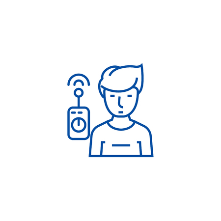 Operator with remote controller line concept icon. Operator with remote controller flat  vector website sign, outline symbol, illustration.