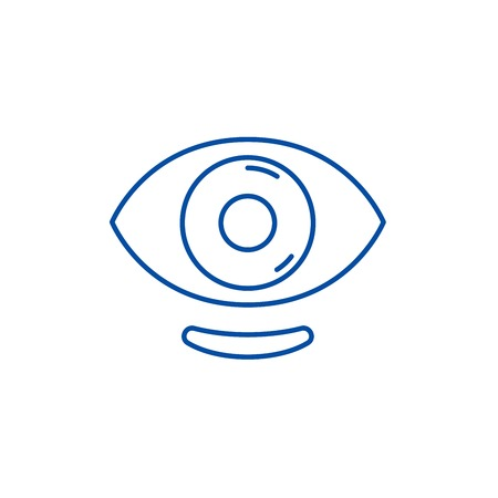Ophthalmic lenses line concept icon. Ophthalmic lenses flat  vector website sign, outline symbol, illustration.