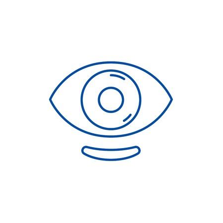 Ophthalmic lenses line concept icon. Ophthalmic lenses flat  vector website sign, outline symbol, illustration. Zdjęcie Seryjne - 119985390