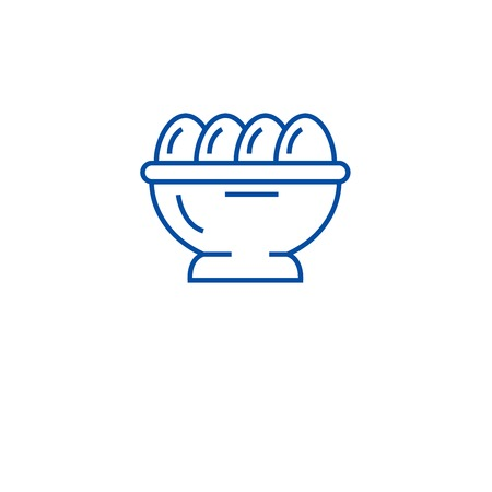 Organic eggs line concept icon. Organic eggs flat  vector website sign, outline symbol, illustration.  イラスト・ベクター素材