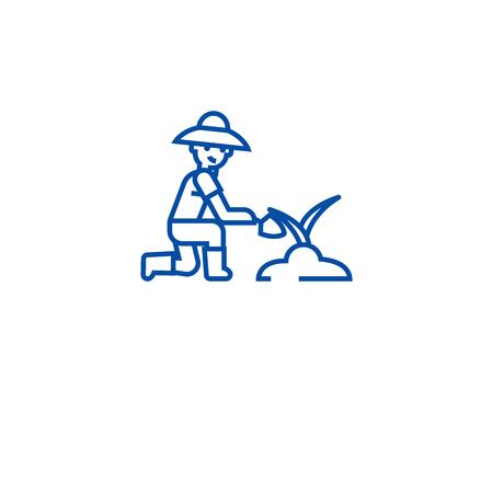 Organic fertilization line concept icon. Organic fertilization flat  vector website sign, outline symbol, illustration. Stock Illustratie