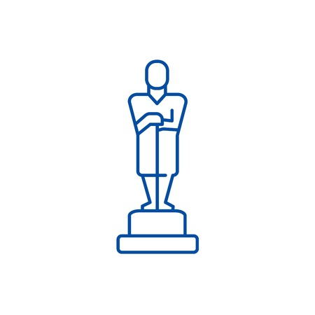 Oscar,trophy line concept icon. Oscar,trophy flat  vector website sign, outline symbol, illustration.