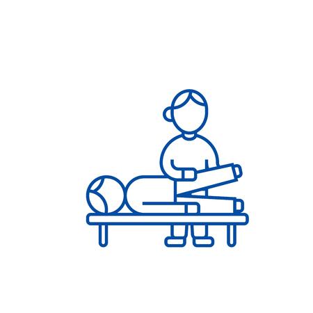 Ostéopathie, thérapie manuelle, icône de concept de ligne de massage. L'ostéopathie,thérapie manuelle,massage télévision vector website sign, symbole du contour, illustration.