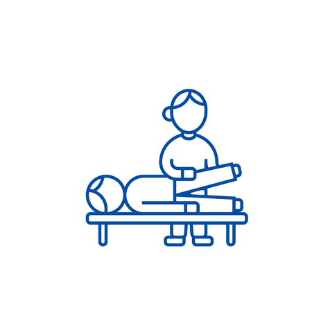 Osteopathy,manual therapy,massage line concept icon. Osteopathy,manual therapy,massage flat  vector website sign, outline symbol, illustration. Archivio Fotografico - 119985401