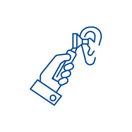 Otoscope  line concept icon. Otoscope  flat  vector website sign, outline symbol, illustration. 矢量图像
