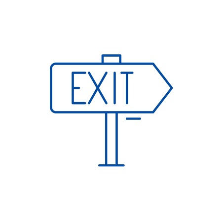 Output line concept icon. Output flat  vector website sign, outline symbol, illustration. Illustration
