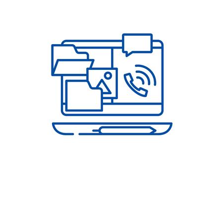 Outsource work line concept icon. Outsource work flat  vector website sign, outline symbol, illustration. Banque d'images - 120057082