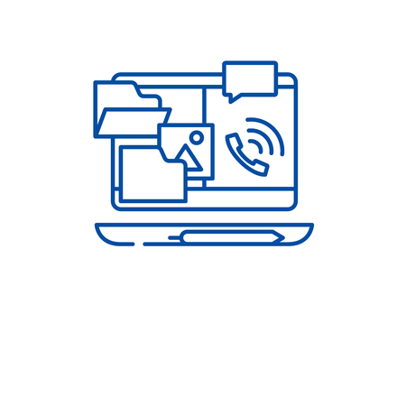 Outsource work line concept icon. Outsource work flat  vector website sign, outline symbol, illustration.