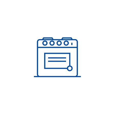 Oven illustration line concept icon. Oven illustration flat  vector website sign, outline symbol, illustration.