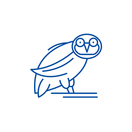 Owl line concept icon. Owl flat  vector website sign, outline symbol, illustration. Ilustração