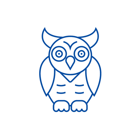 Owl,wisdom line concept icon. Owl,wisdom flat  vector website sign, outline symbol, illustration.