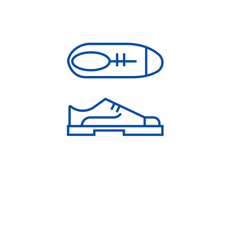 Oxford shoes line concept icon. Oxford shoes flat  vector website sign, outline symbol, illustration. Çizim