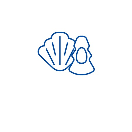 Oysters, scallops line concept icon. Oysters, scallops flat  vector website sign, outline symbol, illustration. Illustration