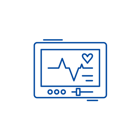 Pacemaker line concept icon. Pacemaker flat  vector website sign, outline symbol, illustration.