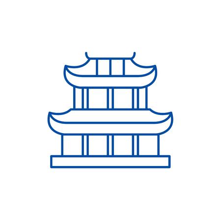 Pagoda line concept icon. Pagoda flat  vector website sign, outline symbol, illustration.