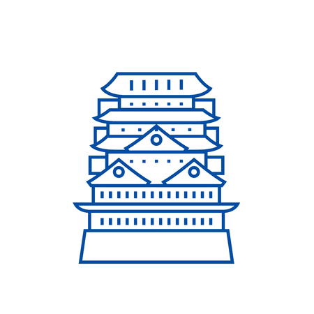 Pagoda,asian temple line concept icon. Pagoda,asian temple flat  vector website sign, outline symbol, illustration. Иллюстрация