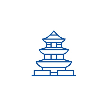 Pagoda,japan line concept icon. Pagoda,japan flat  vector website sign, outline symbol, illustration. Illustration