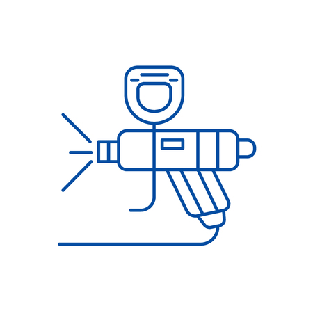 Paint car service line concept icon. Paint car service flat  vector website sign, outline symbol, illustration.  イラスト・ベクター素材