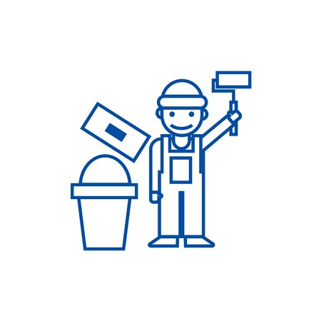 Painter,builder line concept icon. Painter,builder flat  vector website sign, outline symbol, illustration.